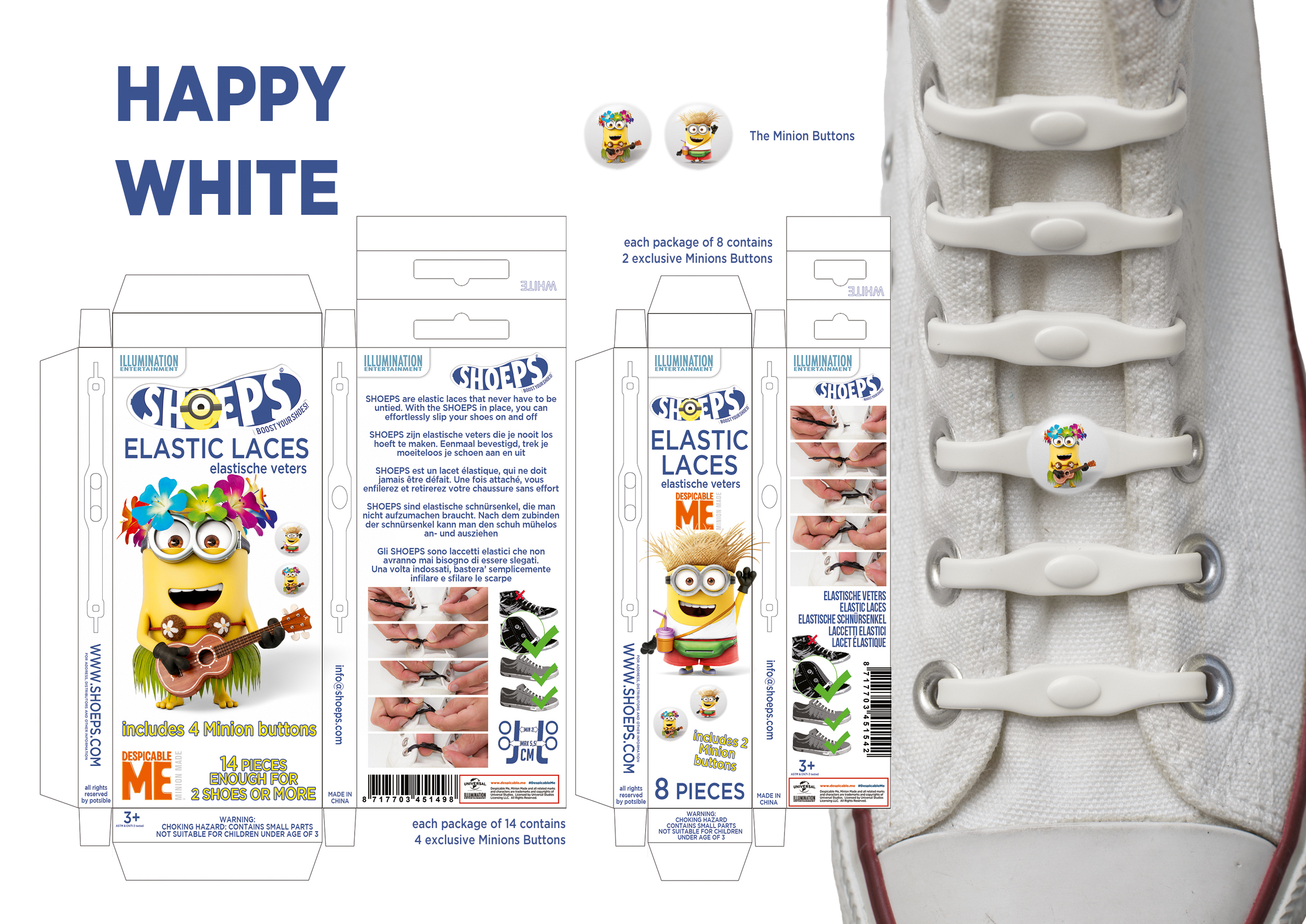 | SHOEPS MINIONS BANANA WHITE